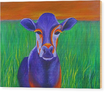 Purple Cow Wood Print by Roseann Gilmore