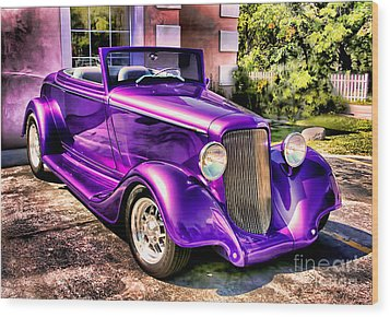 Purple Custom Roadster Wood Print by Clare VanderVeen