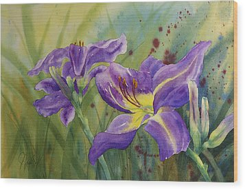 Purple Day Lily Wood Print