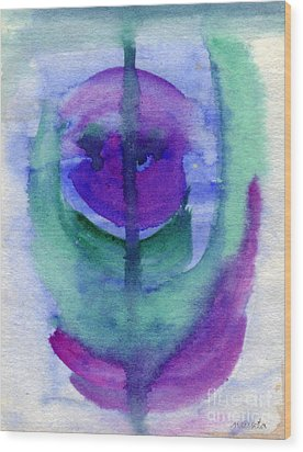 Purple Face Wood Print by Mukta Gupta