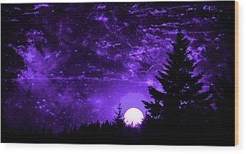 Purple Fantasy Sunset Wood Print