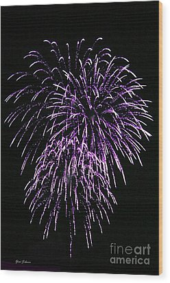 Purple Fire  Wood Print by Yumi Johnson