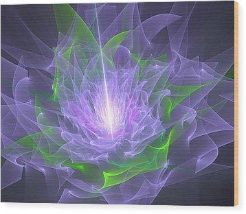 Purple Flame Wood Print