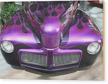 Purple Flames Wood Print