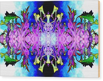 Purple Flower Abstract Wood Print by Marianne Dow