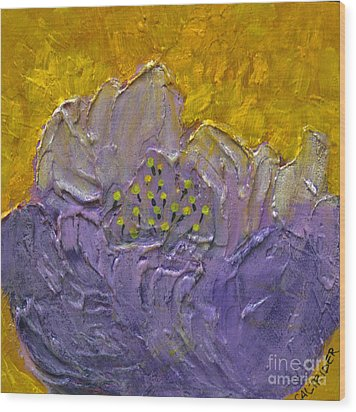 Purple Flower Wood Print by Alison Caltrider