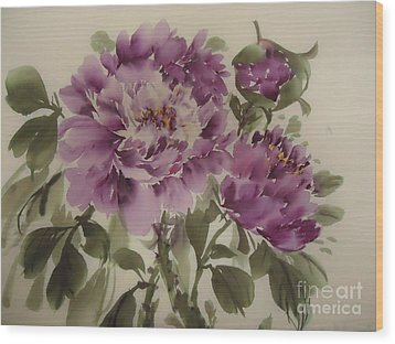 Wood Print featuring the painting Purple Flower by Dongling Sun