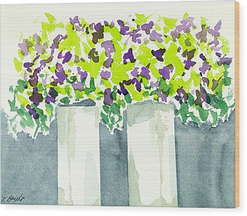 Purple Flowers Abstract Wood Print