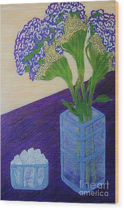 Wood Print featuring the painting Purple Flowers And Ice by Jasna Gopic