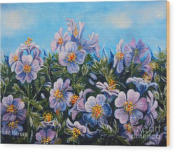 Purple Flowers Wood Print by Drinka Mercep