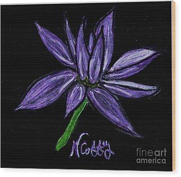 Purple Flowers Wood Print by Neil Stuart Coffey