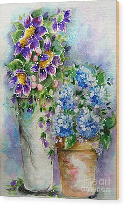 Purple Flowers Wood Print