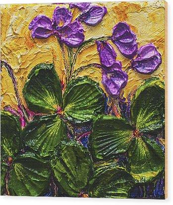 Purple Flowers Shamrocks Wood Print by Paris Wyatt Llanso
