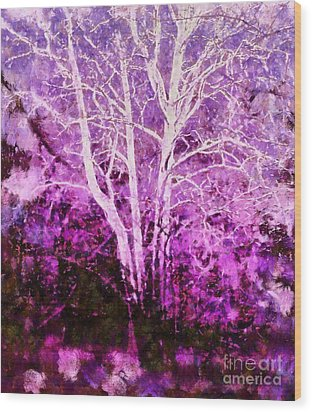 Purple Forest Fantasy Wood Print by Janine Riley