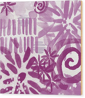 Purple Garden - Contemporary Abstract Watercolor Painting Wood Print by Linda Woods