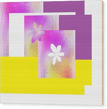 Purple Glow Flower Wood Print