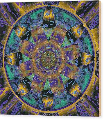 Purple Gold Dream Catcher Mandala Wood Print by Michele Avanti