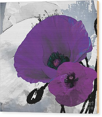 Purple Grey Poppy A Wood Print by Grace Pullen