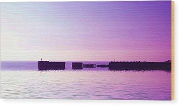 Purple Harbor Wood Print by Sharon Lisa Clarke