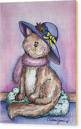 Purple Hat Cat Wood Print