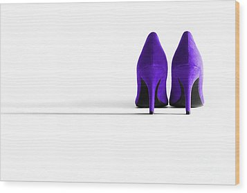 Purple High Heel Shoes Wood Print by Natalie Kinnear