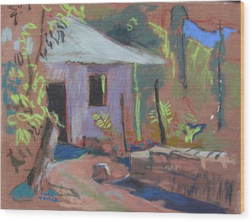 Wood Print featuring the painting Purple House by Linda Novick