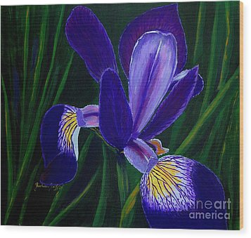 Wood Print featuring the painting Purple Iris by Barbara Griffin