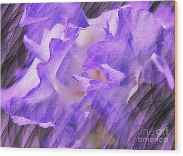 Purple Iris Flower Abstract Wood Print by Judy Palkimas