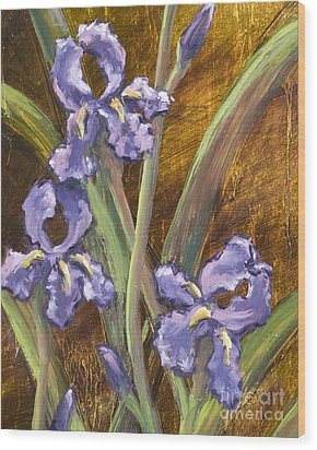 Purple Iris II With Gold Leaf Wood Print by Vic  Mastis