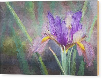 Wood Print featuring the painting Purple Iris In The Early Spring by Ike Krieger