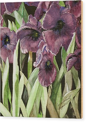 Purple Irises Wood Print by June Holwell