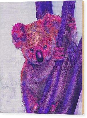 Purple Koala Wood Print by Jane Schnetlage