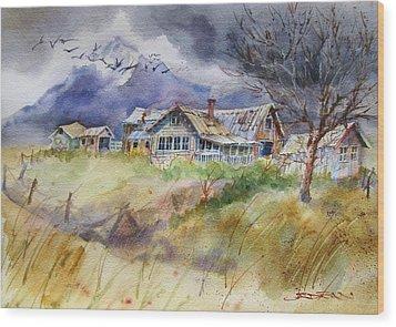 Purple Lone Cone Ranch Wood Print
