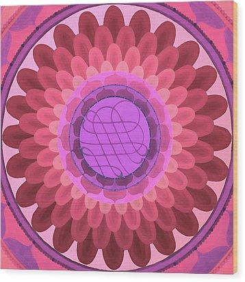 Purple Mandala Wood Print by Vlatka Kelc