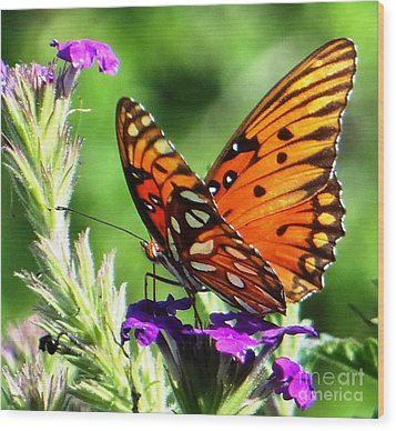 Purple Monach Landing Wood Print by Ecinja Art Works