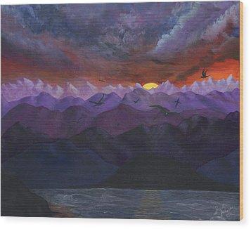 Purple Mountain Sunset Wood Print by Sandy Jasper