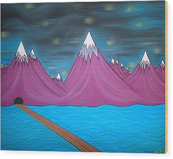 Wood Print featuring the pastel Purple Mountains by Robert Nickologianis