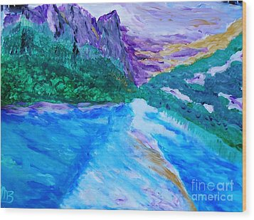 Purple Mountins With A Touch Of Gold Wood Print by Marie Bulger