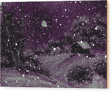 Purple Night Full Moon Wood Print by Barbara Griffin