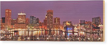 Purple Night In Baltimore Wood Print