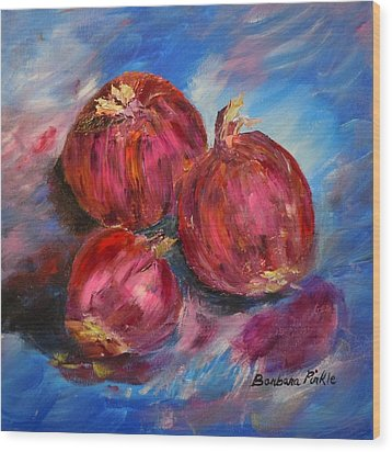 Purple Onions Wood Print by Barbara Pirkle