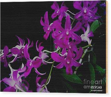 Purple Orchid Flower By Saribelle Rodriguez Wood Print