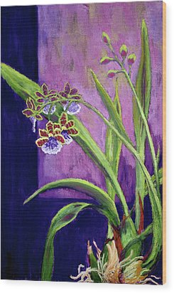 Wood Print featuring the painting Purple Orchids by Nancy Jolley