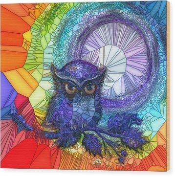 Owl Meditate Wood Print