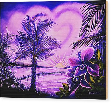 Wood Print featuring the painting Purple Palm by Yolanda Rodriguez