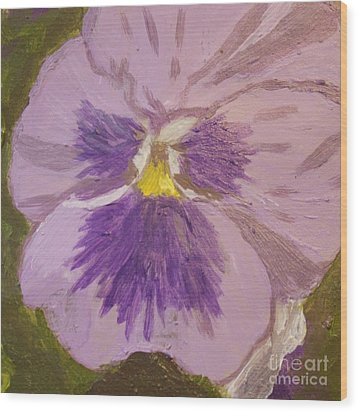Purple Pansy 1 Wood Print by Vicki Maheu