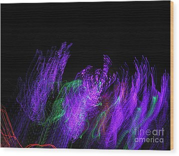 Purple Passion. Dancing Lights Series Wood Print by Ausra Huntington nee Paulauskaite
