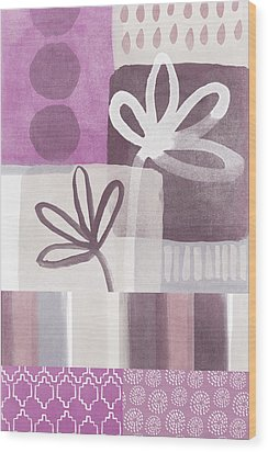 Purple Patchwork- Contemporary Art Wood Print by Linda Woods