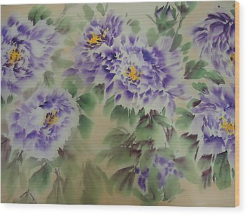 Wood Print featuring the painting Purple Peony 012 by Dongling Sun