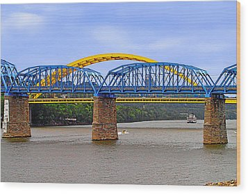 Purple People Bridge And Big Mac Bridge - Ohio River Cincinnati Wood Print by Christine Till